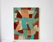 Abstract Painting - Brown, Teal, Turquoise and Shell Pink