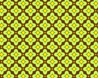 42000  Free Spirit Heather Bailey Bijoux collection-Tiled Primrose in Brown color -  1 yard
