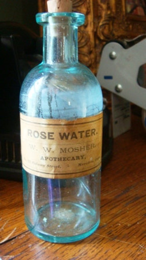 Vintage Antique Corked Glass Rose Water Old Bottle Shabby Chic Vanity Accessory