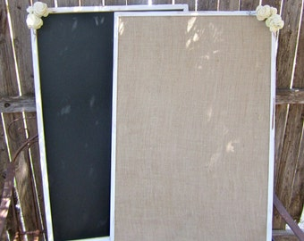 Chalkboard Burlap Set of 2 XXL Stain Washed Vintage Rustic Woodland Shabby Chic  Wedding Message Menu Board Seating Chart Board