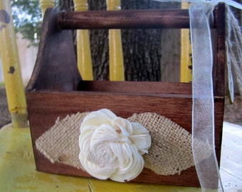 Personalized You Pick The Colors Custom Woodland Rustic Flower Girl Basket Elegant Vintage Shabby Chic Wedding Decorations