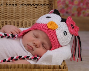 Girl's Crochet Hot PINK n BLACK Hoot OWL Earflap Hat with Braids ~ Sizes: Newborn to Teen ~ Cute Photo Prop or Winter Hat