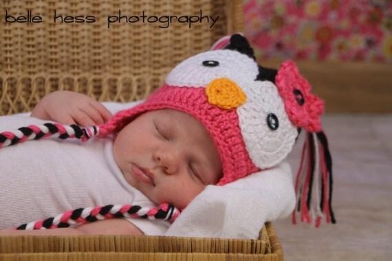 Girl's Crochet Hot PINK n BLACK Hoot OWL Earflap Hat with Braids ~ Sizes: Newborn to Teen ~ Cute Photo Prop or Winter Hat