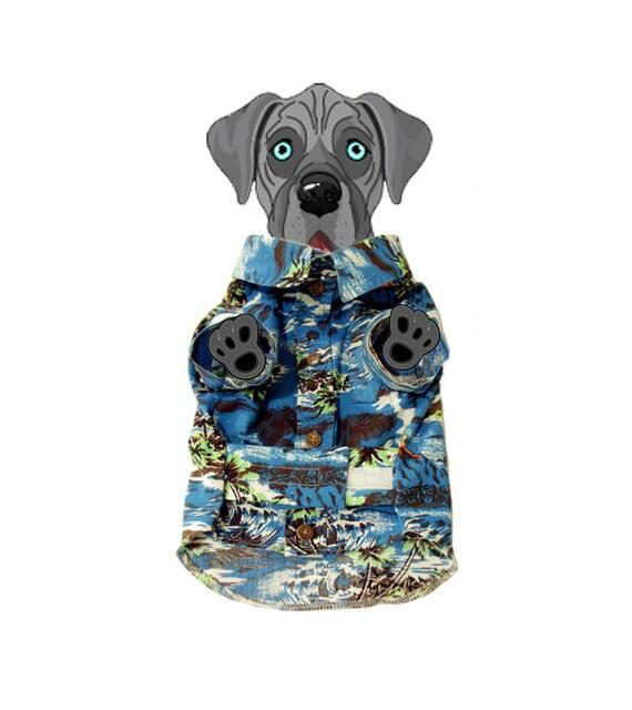 Small Blue Hawaiian Dog Shirt