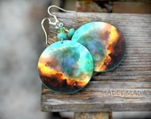Galaxy Earrings Nebula Space Dangle Round Jewelry, choose your size , gift for her under 25