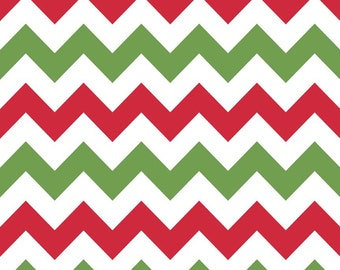 LAMINATED cotton fabric by the yard (similar to oilcloth) Christmas Red Green Chevron - Approved for use in children's products