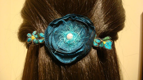 Barrette Turquoise Wild Flower Garden Extra Large Barrette