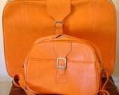 RESERVED-------Vintage FuNkY Orange 1970s SAMSONITE 2 Piece Luggage Set