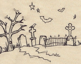 Doodle Graveyard with a Haunted Tree and Bats Embroidered Flour Sack Hand/Dish Towel