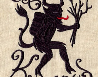 Merry Krampus Evil Santa Claus Embroidered Flour Sack Hand/Dish Towel