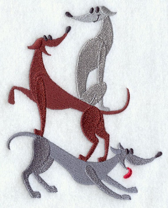 Greyhound Stack Embroidered Flour Sack Hand/Dish Towel