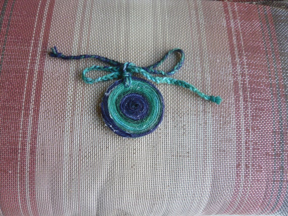 Hand made varigated blue to green suitcase tag