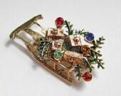 Vintage Santa Sleigh Rhinestone Brooch