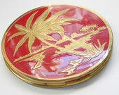 Vintage Red Rex Fifth Ave. Large Powder Compact