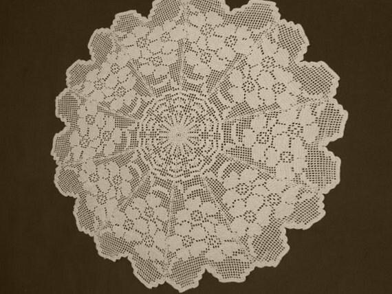 "Crochet Doily  - Large Doilies -  Ecru - Round Tablecloth - 27 """
