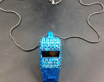 Light Blue Rhinestone Covered Whistle Necklace (3mm rhinestones)