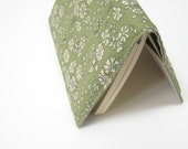 Liberty print notebook cover, sage green cream Liberty of London, cotton fabric cover for pocket Moleskine