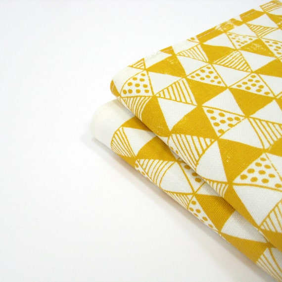 SALE Fun modern bright yellow triangles geometric 2013 planner, A6 notebook or sketchbook - hand screenprinted white linen fabric