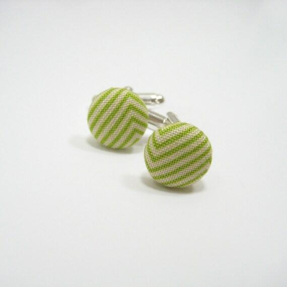 Green chevron cufflinks for Him, Modern fashion accessories for men, Cotton anniversary gift idea