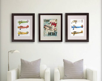 Set of Three 11x14 Aviation Giclee Prints - Learn to Fly Sign and Vintage Airplane Collections