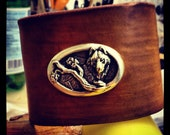 Leather Wolf Cuff by Pleasant Pup Custom Leatherworks