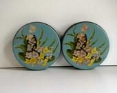Vintage Mid Century Turquoise Round Tins - Set of Two