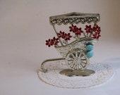 Vintage Silver Flower Cart Earring Display / Holder