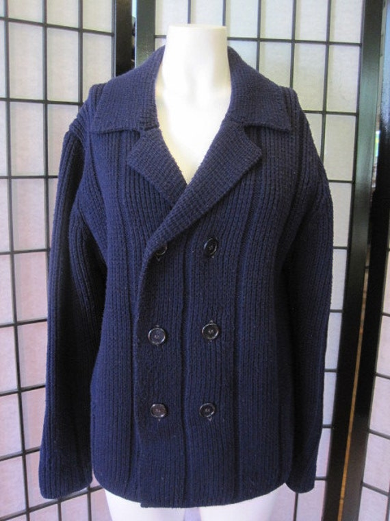 Vintage 1960s 1970s Thane Navy Royal Blue Pea Coat Style Doublebreasted Knit Cardigan Sweater Acrylic Knit Unisex