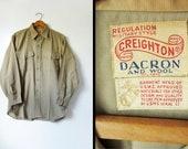 Vintage WWII Military Shirt Union Made USMC Button Up - Men's Medium
