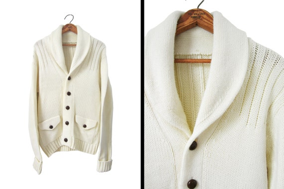 Men'S White Sweater With Pockets - Cardigan With Buttons