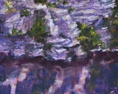 Original Landscape Painting, Lake Awosting Cliffs 6x8 pastel - Daily Painting