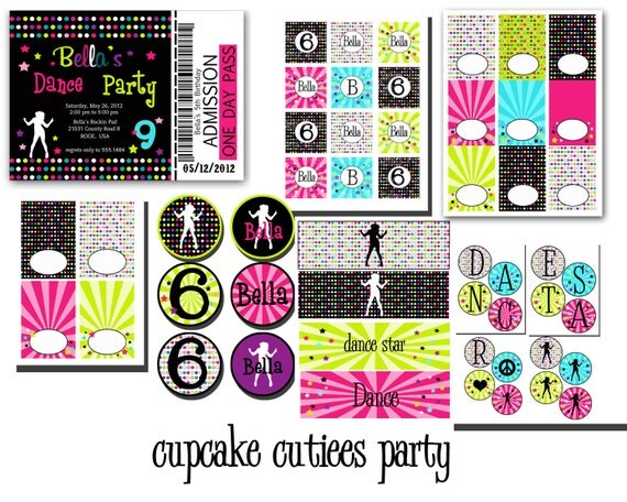 Dance Party Digital Party Pack set  PRINTABLE