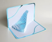 FATHER'S DAY Gift Pop Up Home Décor 3D The WAVE Handmade Cut by Hand Origamic Architecture in White and Bright Shimmery Metallic Light Blue.