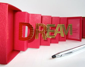 DREAM INSPIRATION Card in a Box With a QUOTE Original Design in Red and Gold Accordion Miniature Book-Card Handmade Personalized OoAK