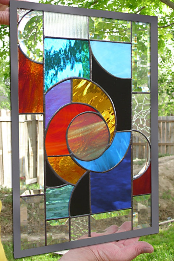 Stained Glass Window Panel Hot Solar Swirl Abstract Panel