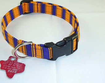 Purple/Gold/Black - Dog Collar - Adjustable