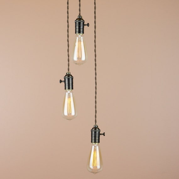 Industrial Chandelier Studio Lighting - Edison Light Bulbs - Oil Rubbed Bronze Finish - Reproduction Cloth Wire