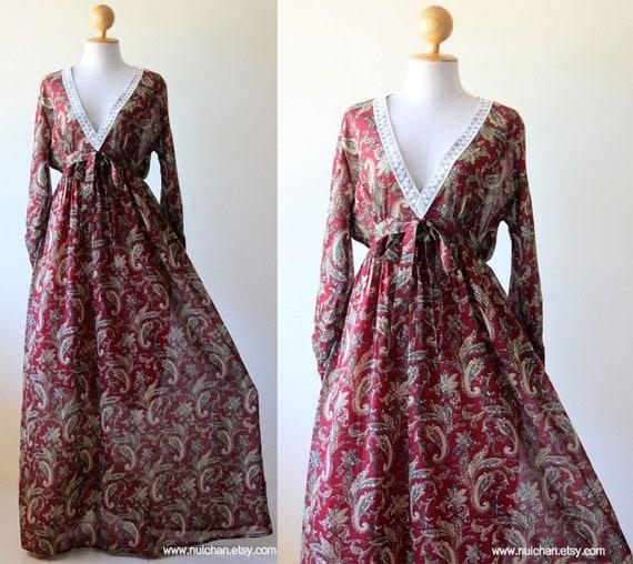 Boho Maxi Dress Long Sleeves Paisley Print : Asian Blend Collection