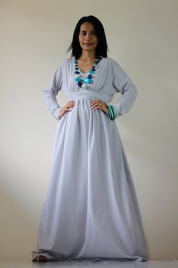 Long Sleeve Dress - Smokey Grey Maxi Dress : Feel Good Collection