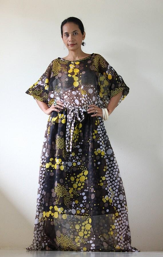 Chiffon Maxi Dress  Graphic Print Long Dress  : Smooth as Silk Collection IV