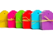60 Rainbow gift tags. Colorful mini die cut tags in bright colors. Turquoise Fuchsia Lime Purple Yellow Red