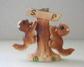 Squirrel up a Tree Salt and Pepper Shaker Set from Japan 3 Piece Ceramic Tree Huggers from The Back Part of the Basement