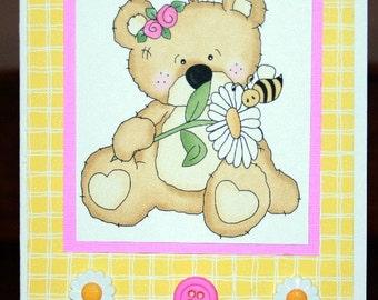 Cute Daisy Bear Card  20120492