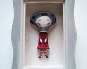 Mushroom girl original wooden diorama-kid nursery decor shadow box-mixed media collage-FREE SHIPPING
