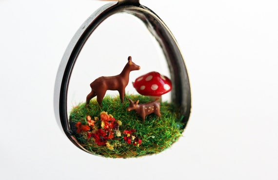 Terrarium necklace diorama necklace terrarium pendant diorama pendant miniature necklace woodland deer necklace fawn necklace mushrooms