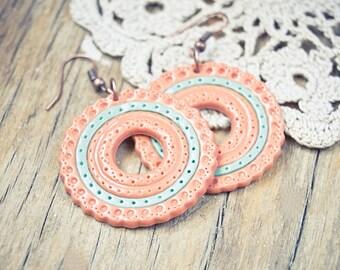 Mint peach earrings hoop, clay jewelry, unique earrings