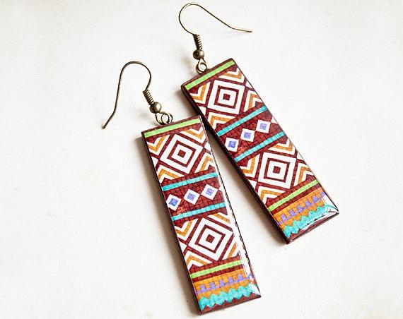 Long tribal earrings, ethnic jewelry, native earrings