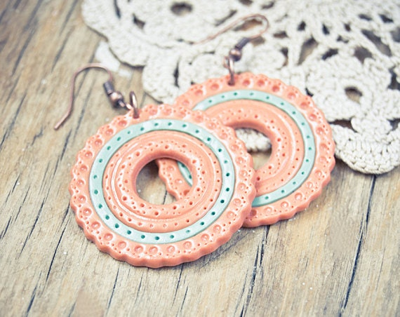 Mint peach earrings hoop, clay jewelry, unique earrings