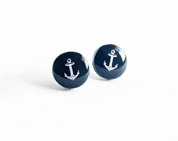 Anchor earrings - Nautical jewelry - Navy blue stud earrings