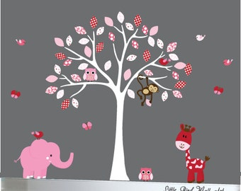 Girls nursery wall decal tree animals decals owls